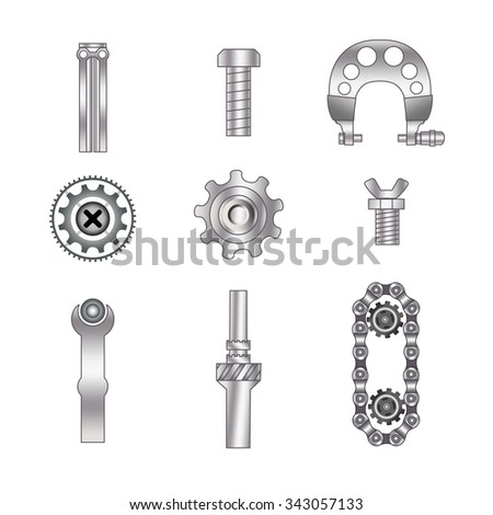 Set of spare parts, machining tools, industrial services, repair clock: micrometer, coil, screw, piston engine, bicycle chain, metal plate. Design of gradient gray with line  - stock vector