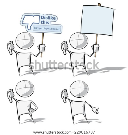 Set of sparse vector illustrations of a of a generic cartoon character on 4 dislike poses. - stock vector