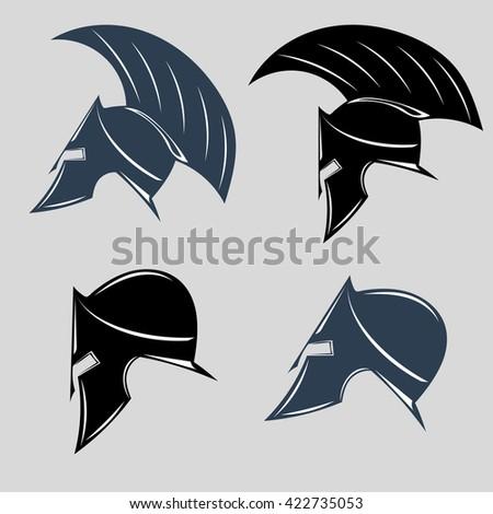 Set of spartan helmets. - stock vector