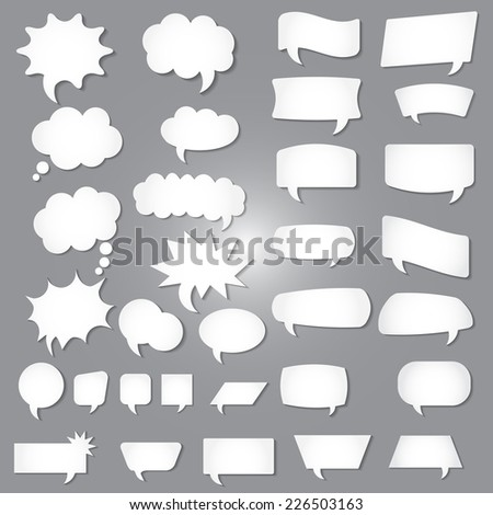 Set of speech bubble icons on gray background. Vector illustration. - stock vector