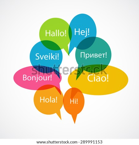 Set of Speech Bubble with Hello Word on Different Languages (Danish, Spanish, Russian, English, German, Italian, Lithuanian, French) Vector Illustration EPS10 - stock vector