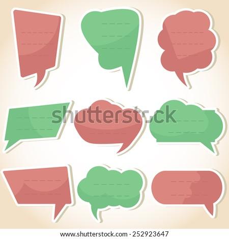 Set of speech bubbles and dialog balloons. Vector illustration - stock vector