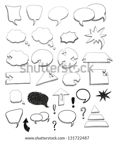 Set of speech bubbles in vector. Hand drawn arrows set. - stock vector