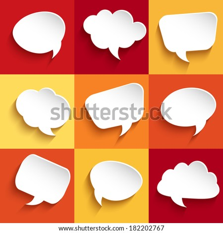 Set of speech bubbles on colorful background - stock vector