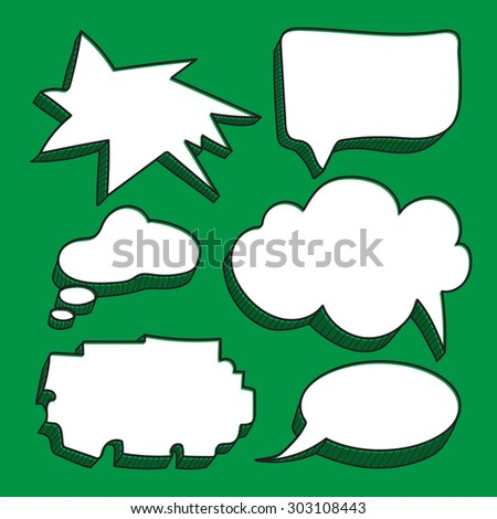 Set of speech bubbles on green background. Sketchy doodles. - stock vector