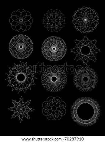 Set of spirograph for design - stock vector