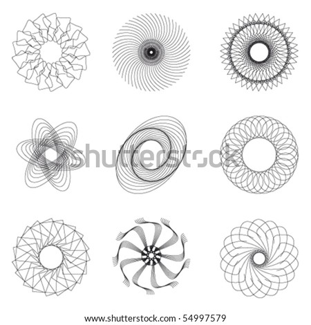 Set of spirograph for design (9 elements) - vector illustration - stock vector