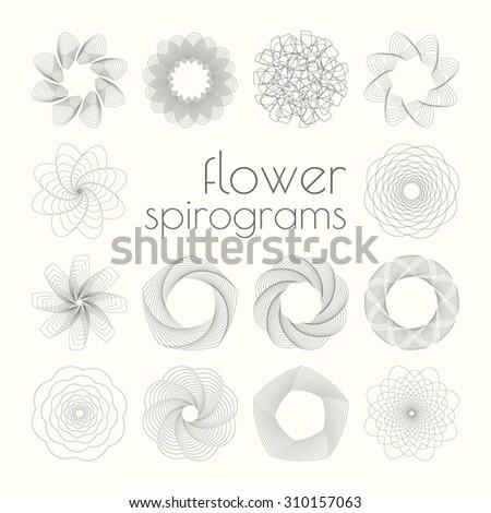 Set of 14 spirographs - stock vector