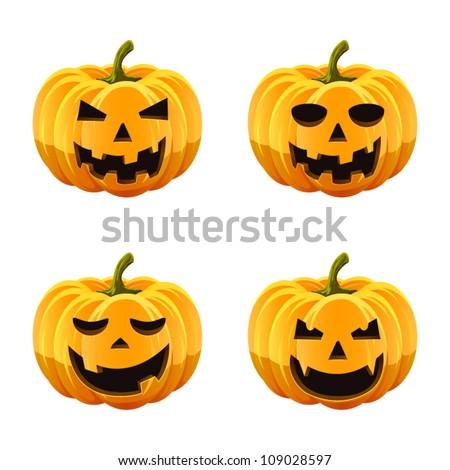 Set of spooky halloween jack o lanterns. - stock vector