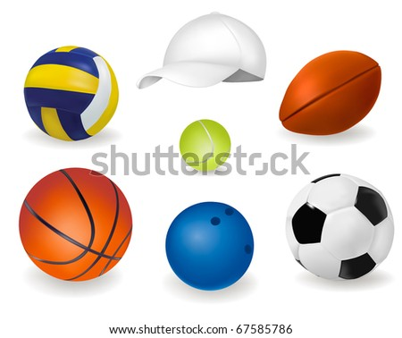Set of sport balls. Vector. - stock vector