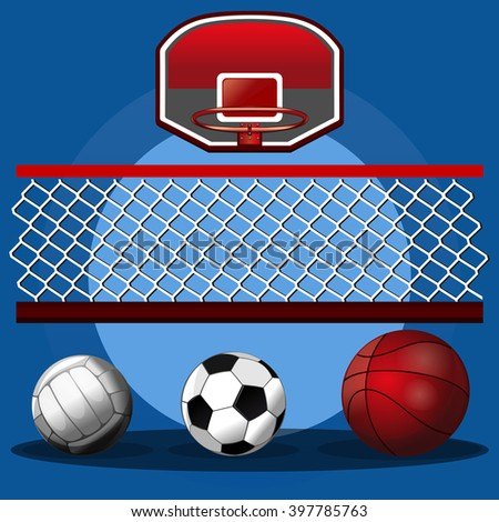 Set of sport balls. Volleyball ball, basketball ball, soccer ball, volleyball net and basketball hoop. Sport design. Vector realistic illustration for sports clubs and gyms - stock vector