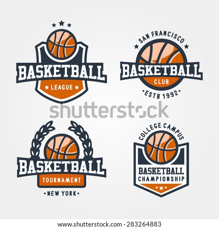 Set Of Sport Basketball Badge Logo Templates, Collection Of Sport T-Shirt Graphics - stock vector