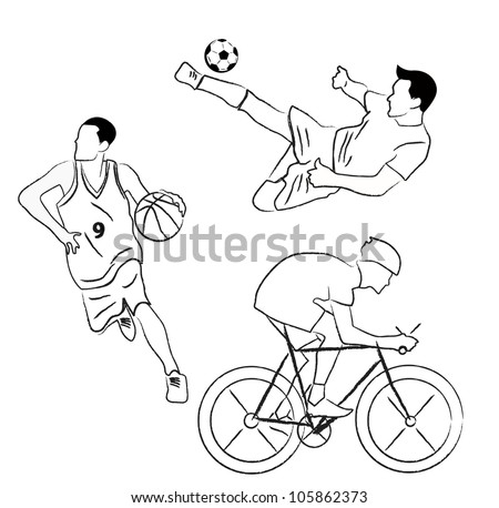 set of sport collection vector - stock vector