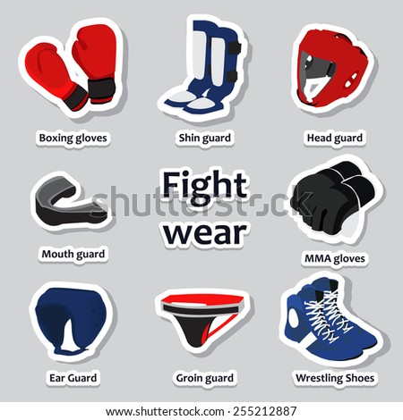 Set of sport equipment for different martial arts. Sports wear and guard - stock vector