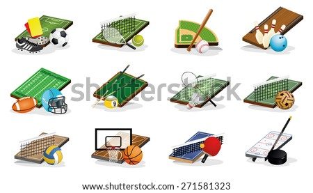 Set of Sport Fields, Equipments and Balls Vector Illustrations - stock vector