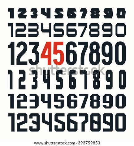 Set of sport numbers. Isolated on white background - stock vector
