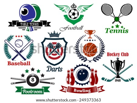 Set of sporting emblems and badges in various shapes and designs for tennis, football, baseball, darts, ice hockey, pool, bowling, and table tennis - stock vector
