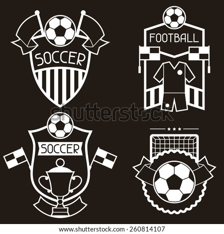 Set of sports badges and labels with soccer football symbols. - stock vector
