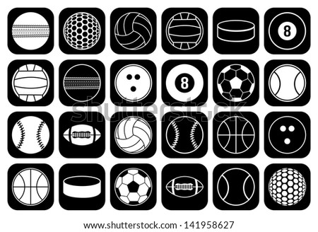 set of sports balls icon - stock vector