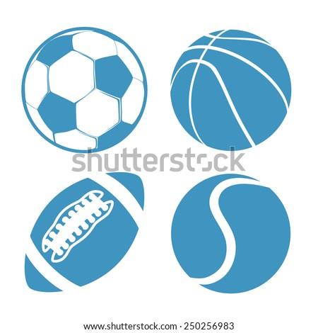 Set of Sports balls Soccer Basketball American Football tennis - stock vector
