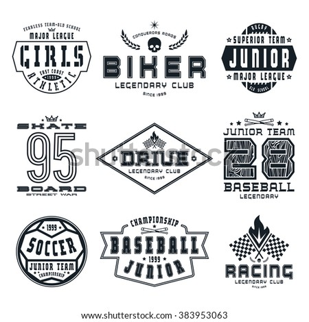 Set of sports emblems. Skateboard, racing, baseball, soccer, rugby. Graphic design for t-shirt. Black print on white background - stock vector