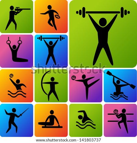 Set of sports icons: shooting, rugby, gymnastics, American, football, power lifting, kayaking, canoeing, barbell, weightlifting, water polo, archery, fencing, swimming, volleyball - stock vector