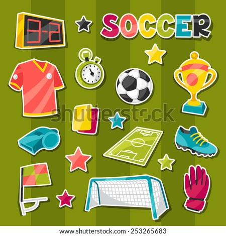 Set of sports soccer sticker symbols and icons in cartoon style. - stock vector