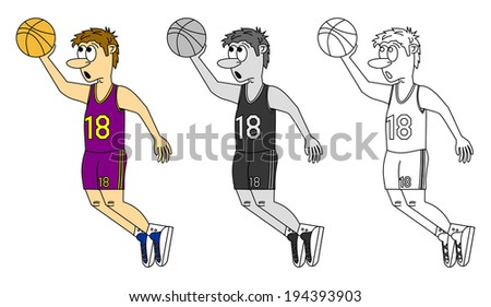 Set of sportsman - basketball. Cartoon young basket player in purple color jersey, jump with ball, vector art image illustration, isolated on white background, colorful, grayscale and outline design - stock vector