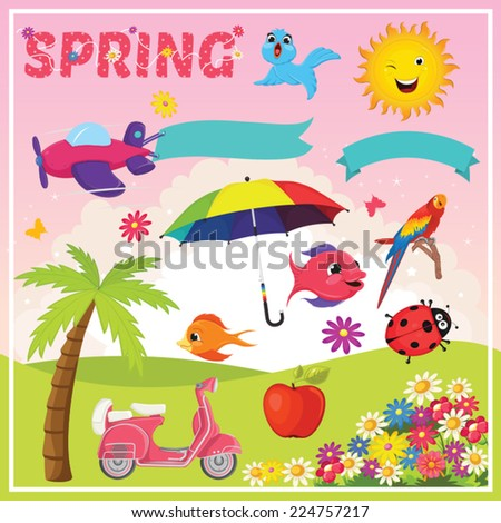 Set of Spring Elements and Illustrations - stock vector