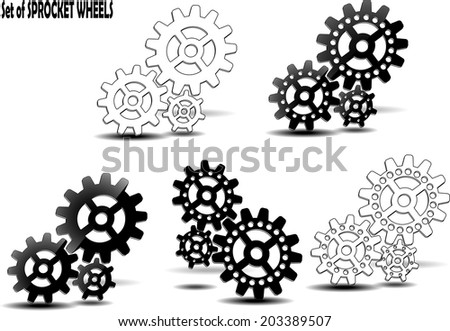 Set of sprocket wheels with shadows on background - stock vector