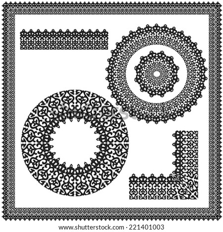 Set of square and circular ornament, illustration, vector - stock vector