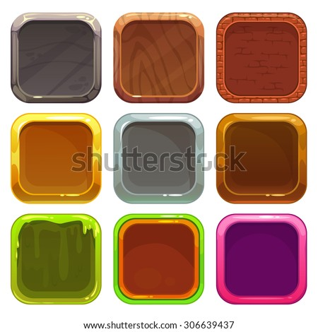 Set of square app icons, vector frames isolated on white background, elements for game or web design - stock vector