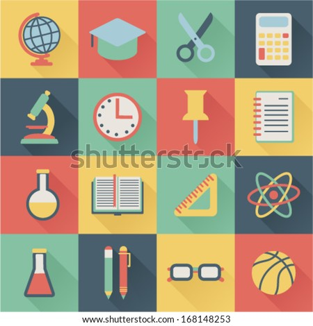 set of square flat school icons - stock vector