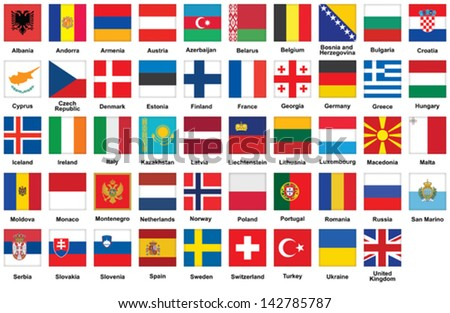 set of square icons with flags of Europe - stock vector