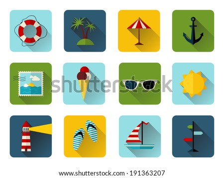 Set of 12 square icons with long flat shadow. Colorful summer icons for your design isolated on white background. - stock vector