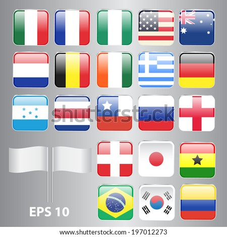 Set of Square-Shaped Flags World Top Countries Including Brazil, U.S.A., Germany, England, etc. The Most Values - stock vector