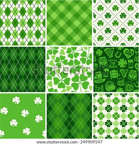 Set of St. Patrick's Day Seamless Patterns  - stock vector