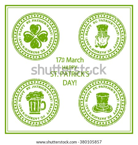 Set of St. Patricks Day green stamps on white background, illustration. - stock vector