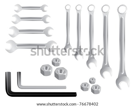 set of stainless spanners -realistic illustration - stock vector