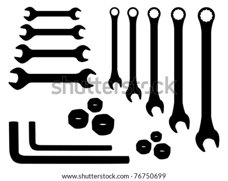 set of stainless spanners -silhouette illustration - stock vector