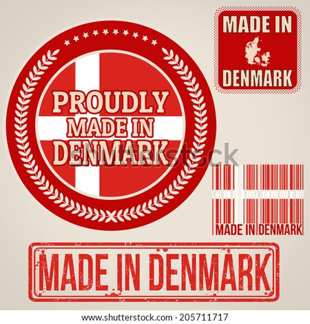 Set of stamps and labels with the text made in Denmark written inside on retro background, vector illustration - stock vector