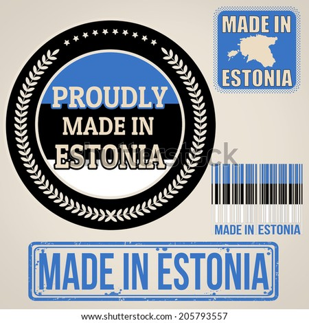 Set of stamps and labels with the text made in Estonia written inside on retro background, vector illustration - stock vector