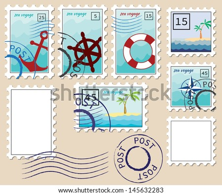 set of stamps on the theme of the sea - stock vector