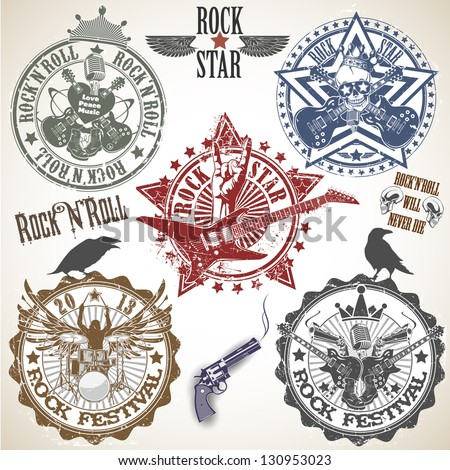 Set of stamps with symbols rock'n'roll - stock vector