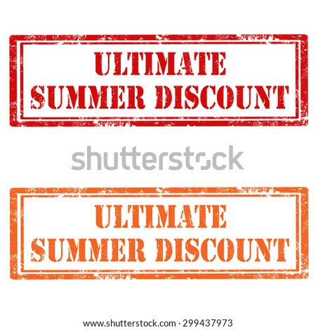 Set of stamps with text Ultimate Summer Discount,vector illustration - stock vector