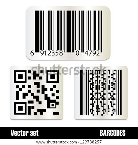 Set Of Standard Barcodes Isolated On White Background - Vector Illustration, Graphic Design Editable For Your Design. Barcode Sticker - stock vector