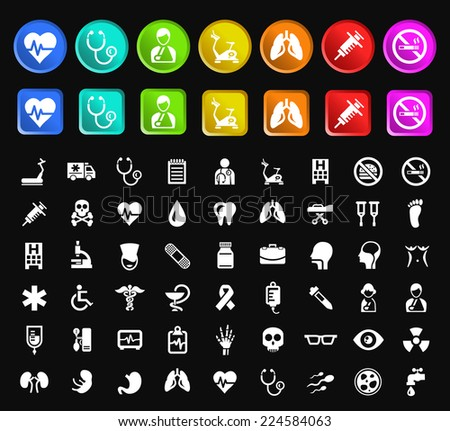 Set of Standard Quality Medical Icons with Square and Circular Colored Buttons on Black Background. - stock vector