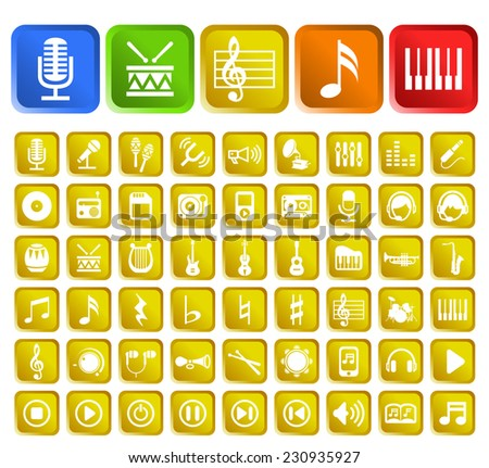 Set of 50 Standard Quality Music Icons with Square Colored Buttons on White Background. - stock vector