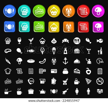 Set of Standard Quality Restaurant Icons with Square and Circular Colored Buttons on Black Background. - stock vector