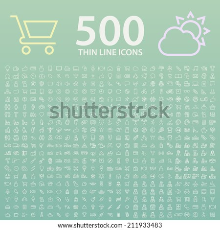 Set of 350 Standard Universal Minimal Modern Thin Line White Icons on Color Background. - stock vector